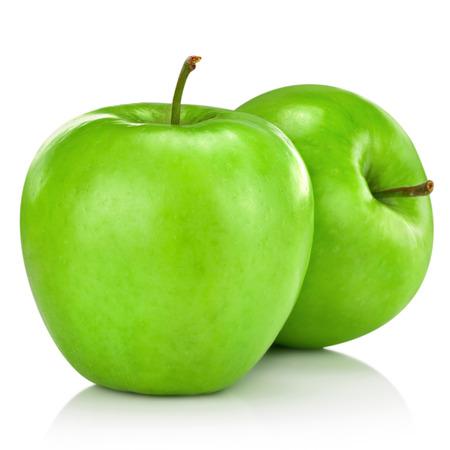 흰색 배경에 고립 된 녹색 사과 스톡 콘텐츠