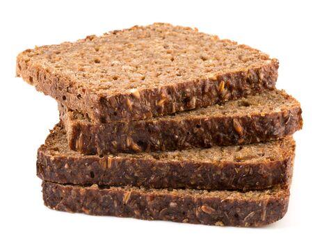 Tranche de pain de blé entier isolé sur un fond blanc Banque d'images - 37750455