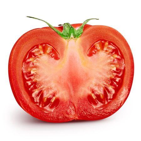 slice tomato: Fresh slice tomato on white background. Clipping Path
