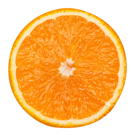 orange colour: slice of orange fruit isolated clipping path Stock Photo