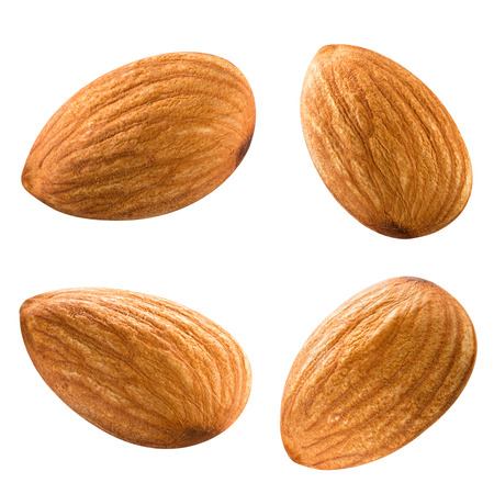 almonds nuts isolated on white background Clipping Path