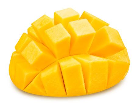 Mango slice geïsoleerd op een witte achtergrond Clipping Path Stockfoto - 38982688