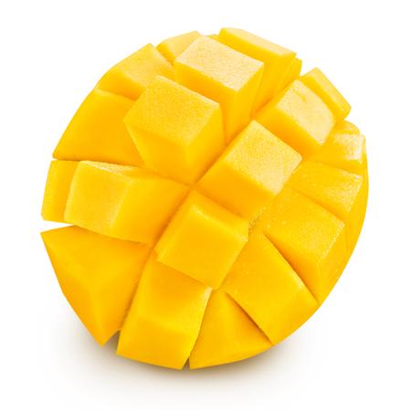 mango fruta: tajada de mango aislado en el fondo blanco