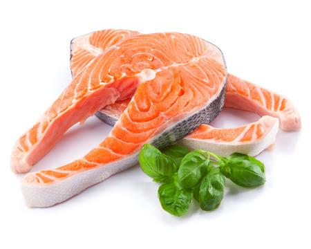 Fresh raw salmon fish steak isolated on a white background