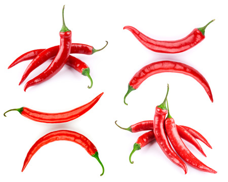 red chilli pepper plant: pepper set isolated on a white background Stock Photo