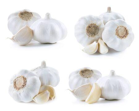 garlic set isolated on white background 版權商用圖片