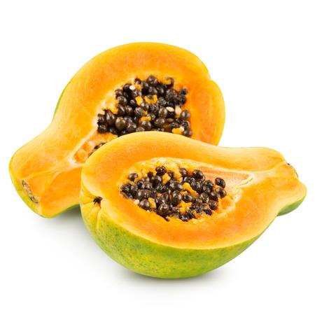 grope: Papaya isolated on white background Clipping Path
