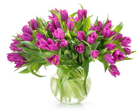tulips in vase: tulip flowers isolated on white background Stock Photo