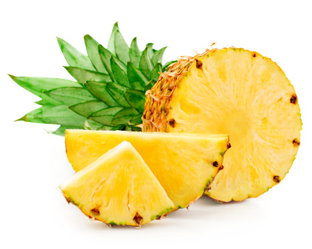 pineapple slice: pineapple with slices isolated