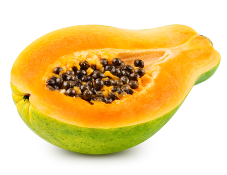 grope: Papaya isolated on white background Clipping Path