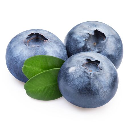 blueberry jam: Blueberries with leaves on a white background Stock Photo