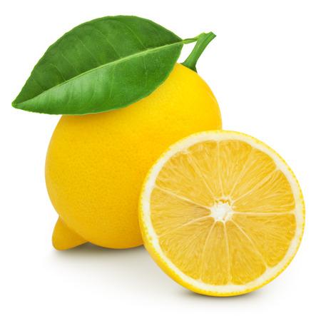 Lemon with leaf isolated on white Stockfoto