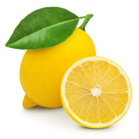 lemon: Lemon with leaf isolated on white Stock Photo
