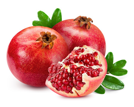 juice fresh vegetables: pomegranate isolated on white background Stock Photo