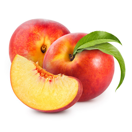 peach with leaf isolated on white background