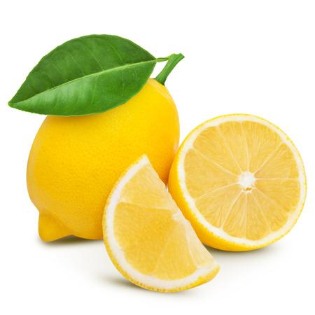 limón: Lim�n con la hoja aislada en blanco