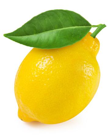 limon: Limón con la hoja aislada en el fondo blanco