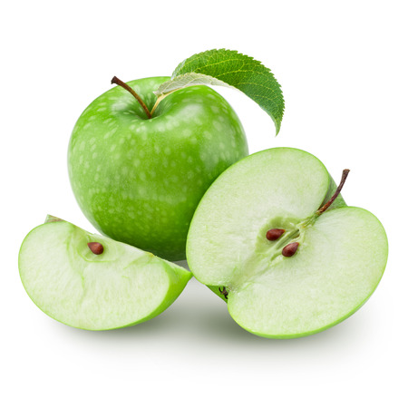 Green apple and half with leaf isolated on white background