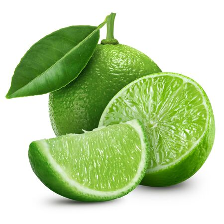 citrus: lime fruit with leaf isolated on white background