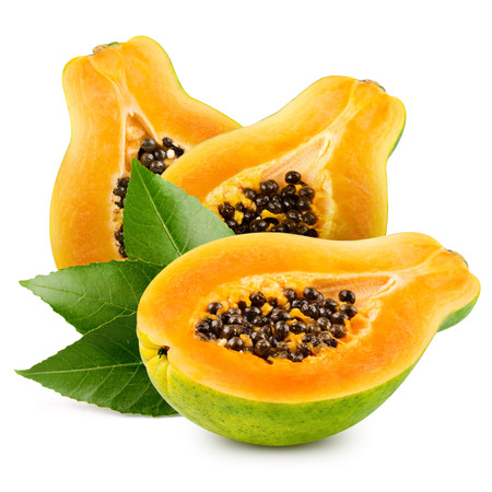 grope: Papaya isolated on white background Stock Photo