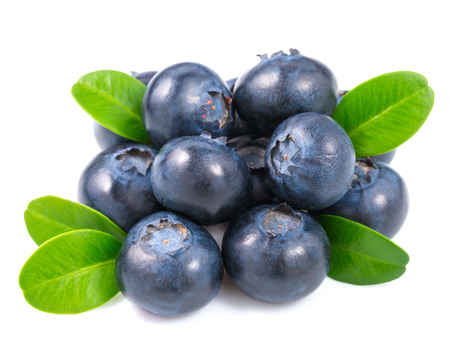 blueberries: Blueberries with leaves on white background