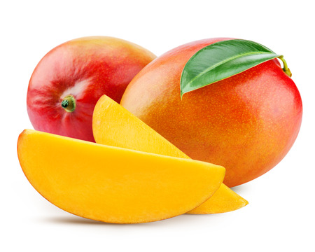 fresh mango isolated on white + Clipping Path Stock fotó