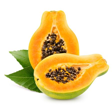 grope: Papaya isolated on white background Stock Photo