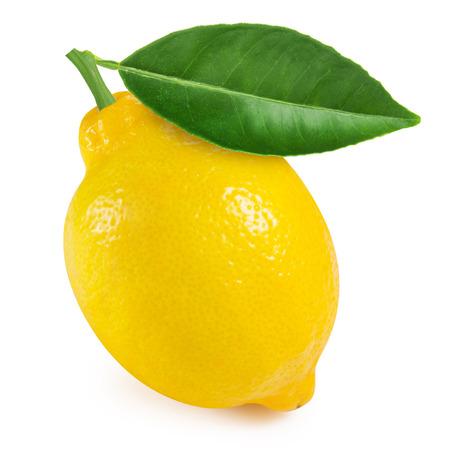 Lemon with leaf isolated on white Archivio Fotografico