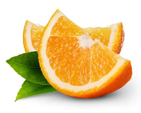 frutas: rodaja de naranja frutas aisladas sobre fondo blanco Foto de archivo