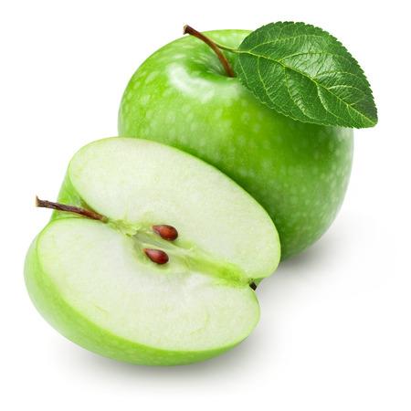 manzana verde: Verde manzana y media con la hoja aislada en el fondo blanco