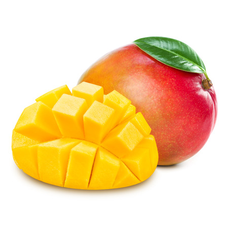 mango slice isolated on white background 版權商用圖片