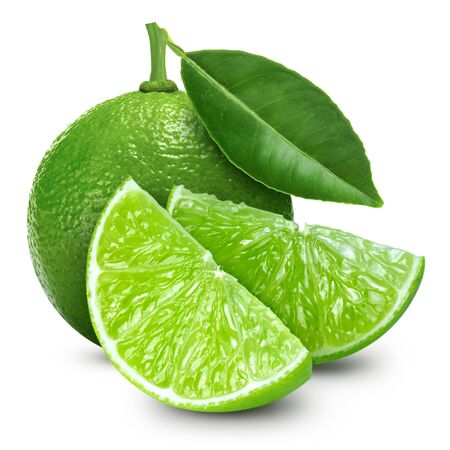 lime fruit with leaf isolated on white background