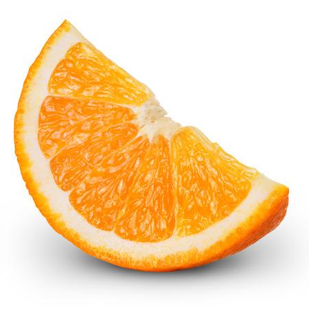 オレンジ色の果物のスライス白地クリッピング パスの分離