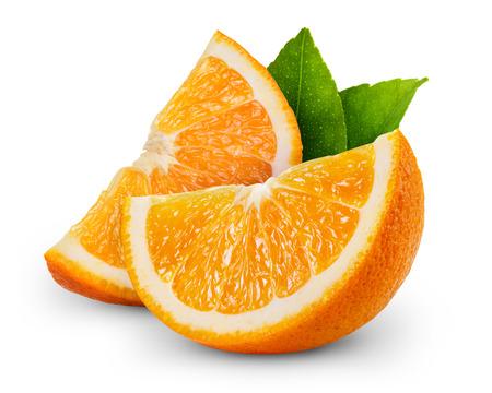 naranja color: rodaja de naranja frutas aisladas sobre fondo blanco Foto de archivo