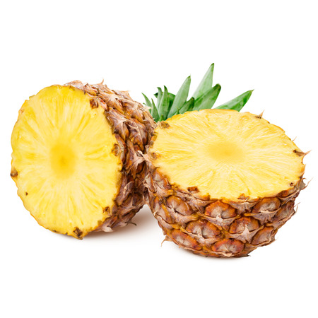 pineapple: pineapple with slices isolated Clipping Path Stock Photo