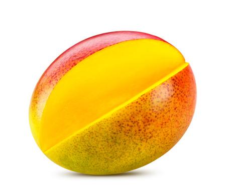 Rijpe mango geïsoleerd op wit Clipping Path