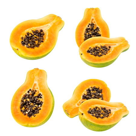 cutaneous: Papaya set isolated on white background