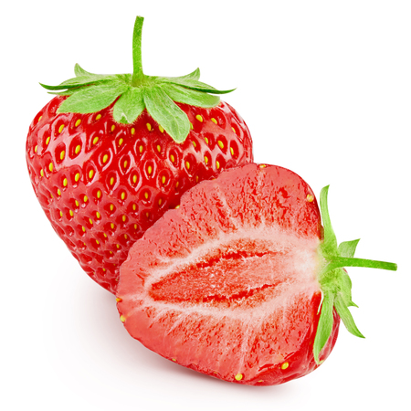clipping  path: Strawberry isolated on white background. Clipping Path Stock Photo