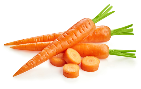 Fresh carrots isolated on white Clipping Path Stock Photo