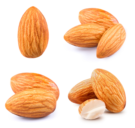 Almonds nuts collection isolated on white background Stock Photo