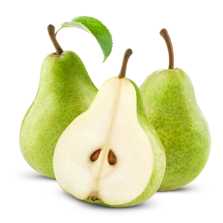 pears with leaf isolated on white Stock Photo
