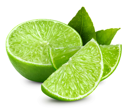 Limettenfrucht-Vektorillustration. Limette auf weißem Hintergrund