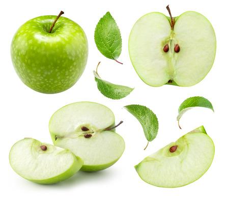 Metà della mela isolata su bianco. Raccolta di tracciati di ritaglio di mela. Riprese macro in studio professionale