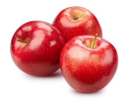 Pommes rouges isolées sur blanc
