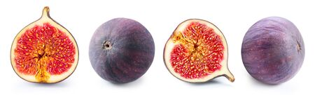 Figs slice isolated on white Banco de Imagens