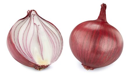 Two red onions isolated on white Standard-Bild - 128281964