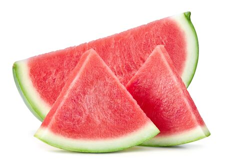 Slices of watermelon fruit isolated on white background. Standard-Bild - 128281968