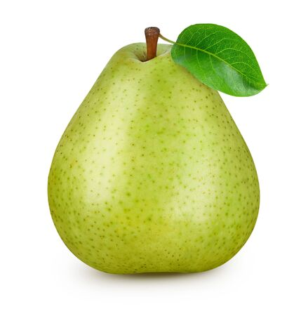 One pear with leaf isolated on white Standard-Bild - 128281972