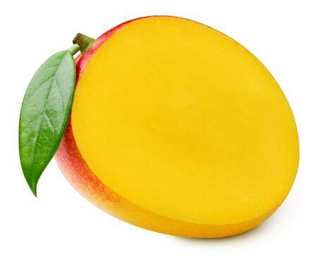 Mango with leaf isolated on white Standard-Bild - 128281973