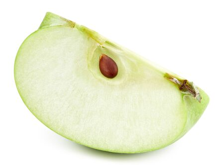 Green apple slice isolated on white Standard-Bild - 128507968